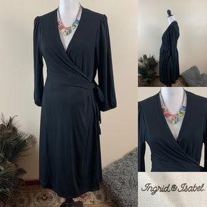 Ingrid & Isabel Black Wrap Midi Maternity Dress